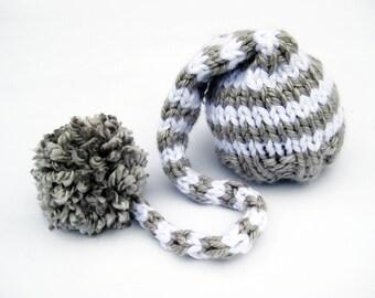 Gray & White Striped Elf Hat Newborn Photo Prop / Size 0 - 12 months / Baby Photography Prop Boy Neutral Grey
