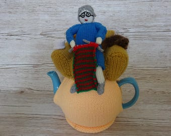 Knitted Tea Cosy  Cosie Cozy  Granny, Grandma, Nanna, Knitting Complete with a Nice Cuppa Shabby Chic
