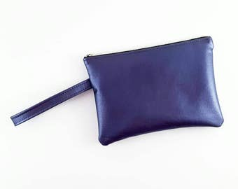 Wristlet Purse, Purple Leather Handbag, Purple Purse, Leather Handbag, Gift For Her, Brdiesmaids Gift, Rave Gear, EDM, Birthday Gift