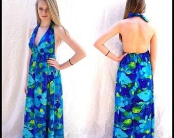 ON SALE vintage, Hawaiian, maxi dress, 1960s,floral,  halter dress, Hawaiian, island dress, boho, hippie,resort, beach, sm  sm/Med