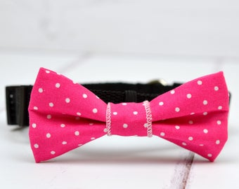 Pink polka dot pet bow tie - dog bow tie - cat bow tie - gift for dog - pet neckwear - bow tie collar - bow tie for pet - pet accessory