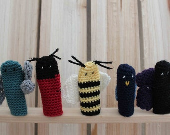 Crocheted Bugs and Birds Animal Set of 5 Finger Puppets