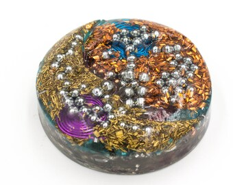 Aura Cleansing Sun Moon Face in Resin Orgone Round Moon