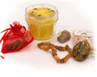 Litha Midsummer Altar Kit Sabbat Kit - Candle Gemstones Pendant Bracelet Bath Salts and incense