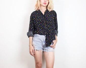 Vintage 1980s Boyfriend Shirt Black Blue Yellow Pink White Square Geometric Polka Dot 80s New Wave Long Sleeve Blouse Hipster Top M Medium L