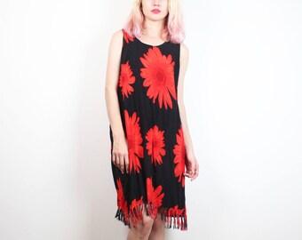 Vintage Soft Grunge Dress 1990s Dress Black Red Daisy Sunflower Dress Fringe Hem Mini Dress 90s Dress Boho Festival Sundress XL Extra Large