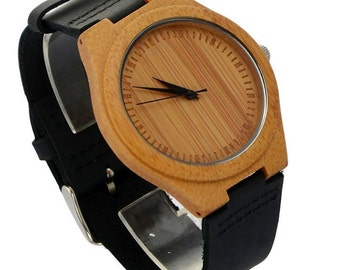 Natural Bamboo Wooden Watch with Genuine Black Leather-Free engraving