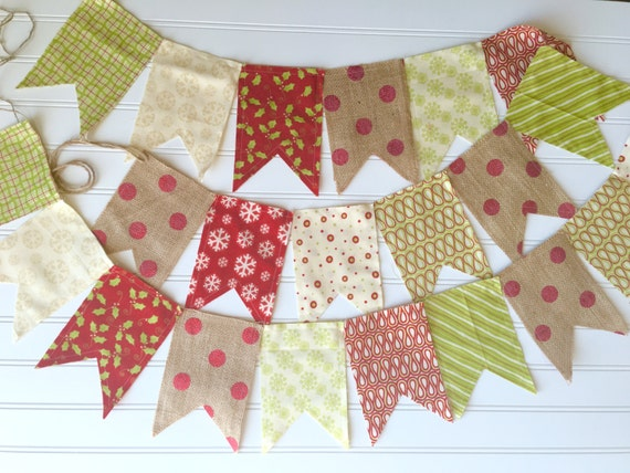 Christmas Made-To-Order Burlap & Fabric Pendant Bunting in Red, Green, Cream - Holiday, Party, Decor, Photography, Mantel, Decoration