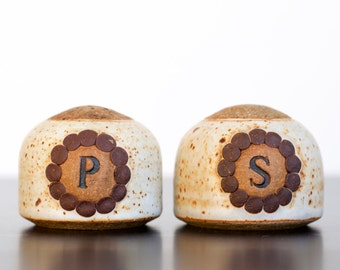 Vintage Studio Pottery Clay Salt and Pepper Shakers | Signed