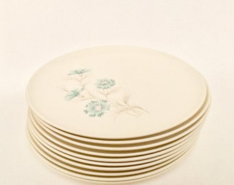 "Vintage Midcentury Taylor, Smith and Taylor Ever Yours ""Boutonnière"" dinner plates."