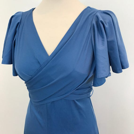 disco dress 1970s blue dress vintage studio 54 disco dress UK 6 8 Biba style cape sleeves grey blue 30s style