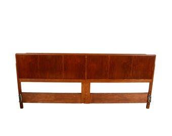 Head Board King Size Oak and Teak Headboard Mid Century Modern