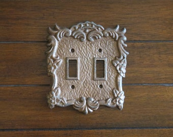 Aged Copper Switch Plate / Double Light Switch Cover / Pick Your Color / Vintage Style / Decorative Cast Iron Metal Light Switch Cover
