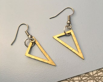 Brass Triangle Earrings