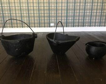 Vintage dollhouse cast iron pots