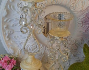 Stunning CRYSTAL Beaded Candle Holders FLEUR De Lis ShAbBy