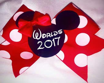 Minnie mouse poka dot World's 2017 cheer bow