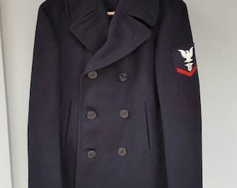 1960s Viet Nam Era US Navy Pea Coat Wool Medical Insignia