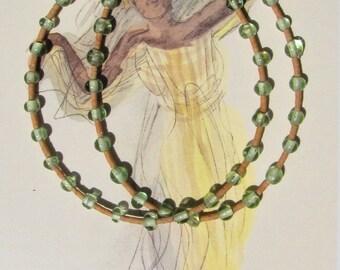 Necklace Orange serpentine light green glass bead 925 spring closure