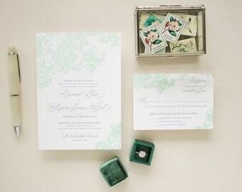 Mint Wedding Invite in Letterpress, Elegant Lace Wedding Invitations, Formal Invitation with Letterpress Printing | DEPOSIT - Besotted