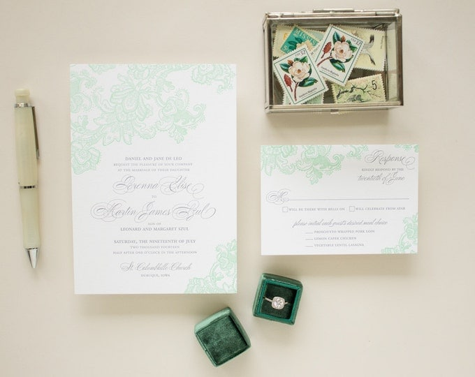 Mint Wedding Invite in Letterpress, Elegant Lace Wedding Invitations, Formal Invitation with Letterpress Printing | DEPOSIT - Besotted