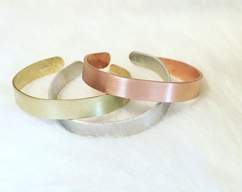Handstamped Bracelet CUSTOM in pure aluminum, pure brass or pure copper