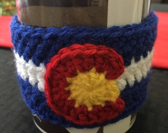 Crochet Coffee Cozy Colorado Flag , Coffee Cozie, Coffee Cup Cozy, Coffee Sleeve, Wrap Around Coffee Cozy