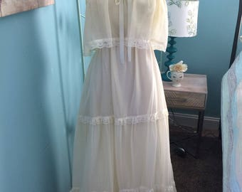 Vintage Boho Hippie Prairie Tiered and Ruffled Maxi Dress