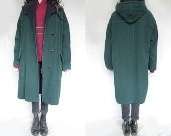 1980s Vintage Hooded Longcoat (Quality Item) Green Loden Wool for Women