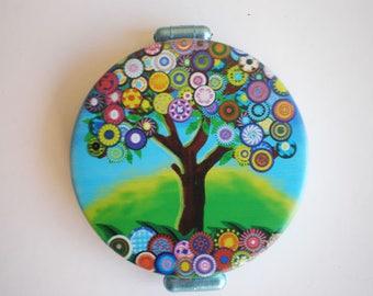 Pocket mirror, Hand mirror, Tree of life, Pocket mirror art, Printed pocket mirror