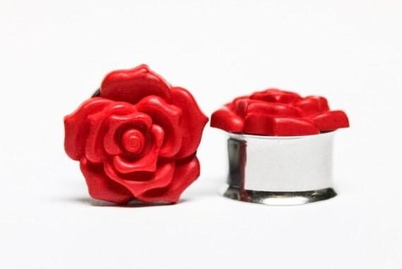 Red Rose Plugs, gauges    1/2, 9/16, 5/8, 3/4