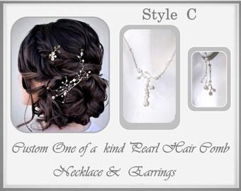 White Pearl jewelry, Pearl Wedding jewelry, Wedding Jewelry set, Bridal Jewelry,  har pins, pearL hair pins, Wedding  Hair styles,