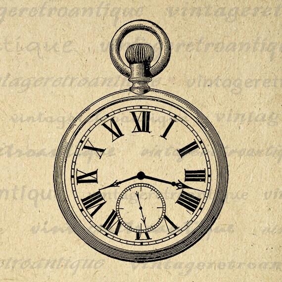 Old Fashioned Antique Pocket Watch Digital Image Download