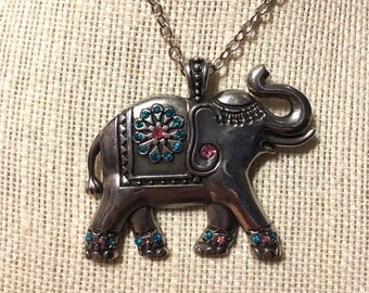 """24"""" Silver with Gems Elephant Necklace"""