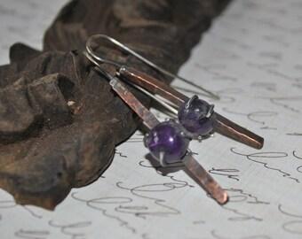 Copper and amethyst dangling earrings, textured metal earrings, rustic earrings, artisan earrings, turquoise earrings