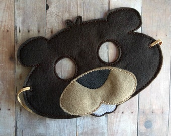 Felt Beaver Mask in 2 Sizes, Elastic Back, Brown Acrylic Felt with Embroidery, Made in USA, Costume, Dress Up Animal Mask, Photo Booth Prop