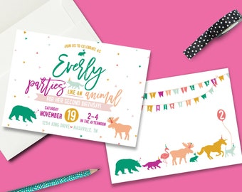 Party Like An Animal Party Birthday Invitation - Digital File