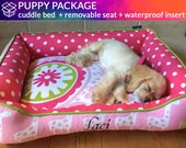 PUPPY PACKAGE - Custom Cuddle Bed, Easy to Clean Removable Seat and Waterproof Seat Insert Cover