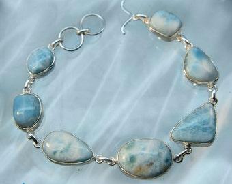 Larimar Gemstone Silver Bracelet SB82