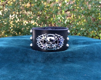 Men's Black Leather Cuff with Scull with Flames and Studs