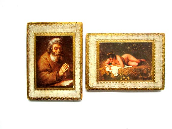 Florentine Wall Decor, Pair of Gold Trimmed Pictures, Older Gentleman and Lady,  Old World Decor, Made in Italy