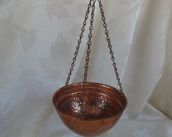 Vintage Hanging Hammered copper Alford Co. New York planter and bracket for hanging - three chains - small and sweet