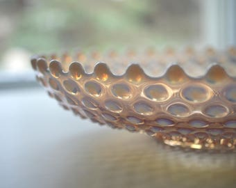 Pink Opalescent Hobnail Bowl Large 12""