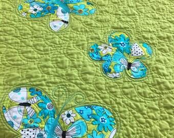 Modern baby girl quilt, wheelchair quilt, handmade baby quilt, made in Canada, #123