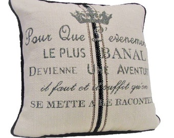French Crown Pillow - 20x20 - Greystone with Black & Tan
