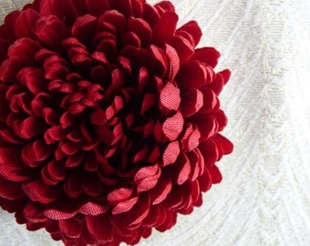 Dahlia Pom Pom  Millinery Flower Deep Red Fabric for Hats Fascinators