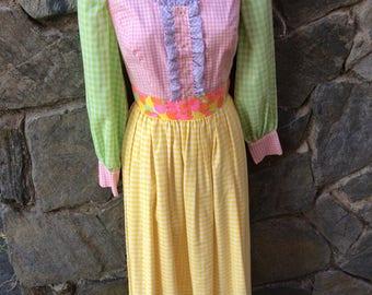 Multicolored Gingham A-Line Dress / Pink, Green, Pruple, Yellow / Flower Pattern Waist