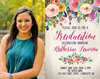 Graduation Party Invitation Floral Graduation.  Graduation Photo Printable Invitation Watercolor, sublime, photo- sfc