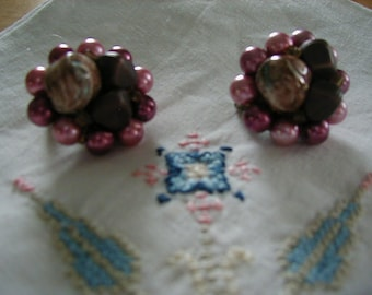 Very nice pearl and beaded clip earrings marked Japan on the back clip.  Pinks, mauves, and browntones.