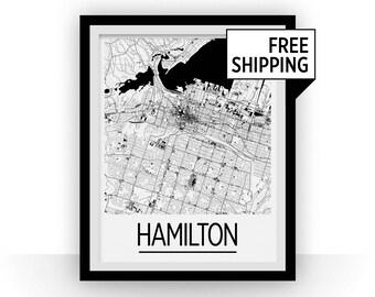 Hamilton Map Poster - Ontario Map Print - Art Deco Series